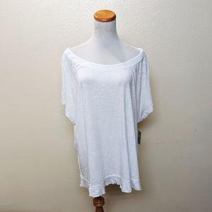 Susina Women's Light Ruffled Hem Tee 3X White